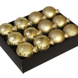 12 styk matte og blanke guld glas julekugler ø 75 mm med dekoration