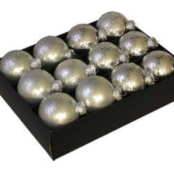 12 styk matte og blanke sølv glas julekugler ø 75 mm med sølv glitter dekoration