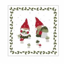 juleservietter frokost størrelse hvide med nisser og svampe