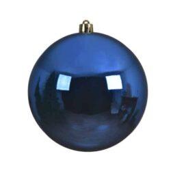 stor julekugle i plastik diameter 14 centimeter blank konge blå overflade