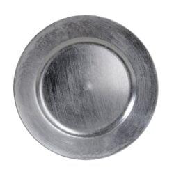 fad til dekorationer og stearinlys sølv 20 cm. i diameter