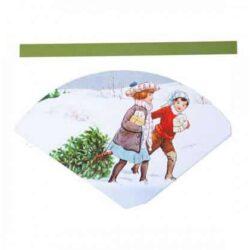 papirark med kræmmerhus til udklip med grønne hanke