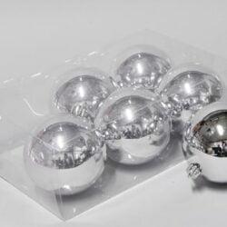 6 stk. blanke sølv  store plastik julekuglerdiameter 10 cm.  til juletræ og julepynt