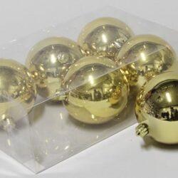 6 stk. blanke guld plastik diameter 10 cm. julekugler til juletræ og julepynt