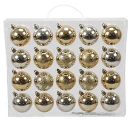 plastik julekugler ø6 mix af perlemor og kobber gylden