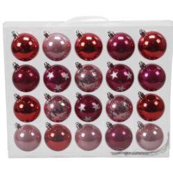 plastik julekugler ø6 mix af pink og rosa