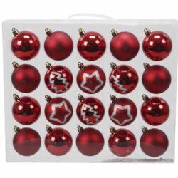 plastik julekugler ø8 mix af røde ensfarvede og dekorerede