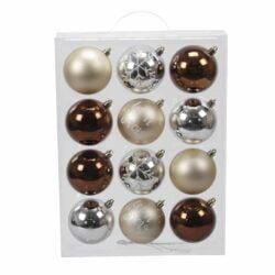 plastik julekugler ø8 mix af brun sølv og elfenben