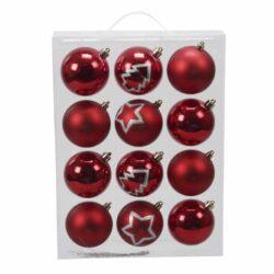 røde julekugler i plastik ensfarvede og med dekoration