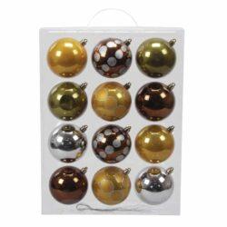 plastik julekugler ø8 mix af brun sølv guld og grønne farver