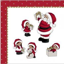 juleservietter frokost størrelse hvide med julemand og nissebørn med julegaver