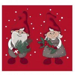 juleservietter frokost størrelse røde med print nissemor og nissefar med pyntegrønt