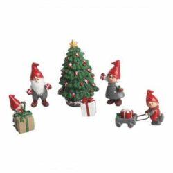 æske med 6 julefigurer til nisselandskab