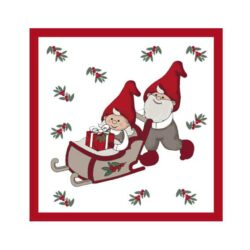 juleservietter frokost størrelse hvide med nissefar der skubber nissemor i kane