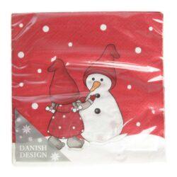 juleservietter frokost størrelse røde med print snemand og nissepige