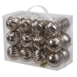 plastik julekugler med forskellige overflader 24 stk. perlemor beige ø6