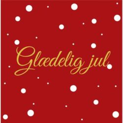 juleservietter frokost størrelse røde med tekst glædelig jul med guld skrift