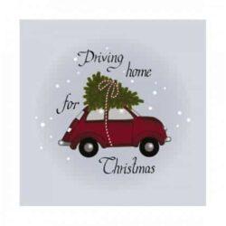 juleservietter frokost størrelse hvide med rød bil Fiat 500 med juletræ bundet på taget