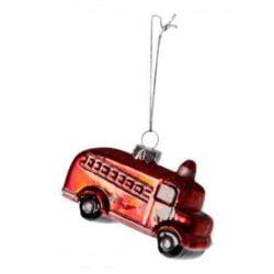 julekugle figur som rød gammeldags brandbil 2 styk i æske