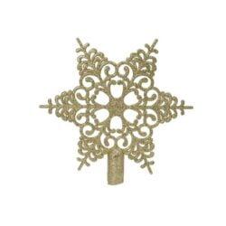 guld snefnug iskrystal topstjerne i plastik til juletræets top Ø 19 cm.