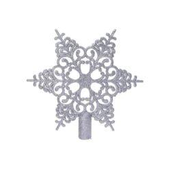 sølv snefnug iskrystal topstjerne i plastik til juletræets top Ø 19 cm.