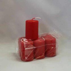 lille rød stearinlys 4 x 6 centimeter i pose med 6 styk
