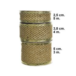 dekorationsbånd tekstilbånd guld 50 mm. bred rulle med 3 meter