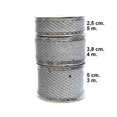 dekorationsbånd tekstilbånd sølv 50 mm. bred rulle med 3 meter