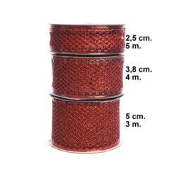 dekorationsbånd tekstilbånd rød 50 mm. bred rulle med 3 meter