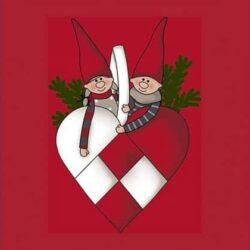 juleservietter frokost størrelse røde med nisser og grangren i flettet julehjerte