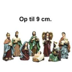 krybbespil med 8 flotte religiøse figurer op til 9 cm.
