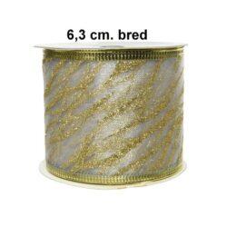 creme farvet dekorationsbånd 63 mm til juledekorationer rulle med 2
