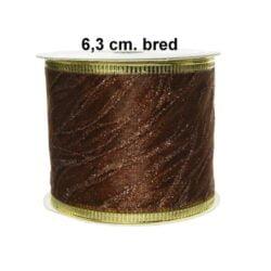 brun naturfarvet dekorationsbånd 63 mm til juledekorationer rulle med 2