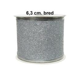 sølv farvet dekorationsbånd 63 mm til juledekorationer rulle med 2
