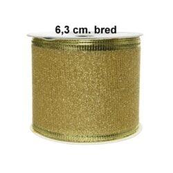 guld farvet dekorationsbånd 63 mm til juledekorationer rulle med 2