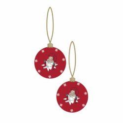 Weihnachtsball rot mit Apotheken Santa Boy auf geflochtenem Stern