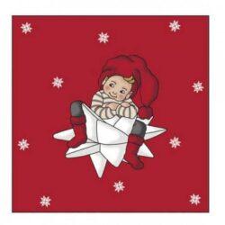 juleservietter frokost størrelse grå med print af apotekernissedreng siddende på hvid stjerne
