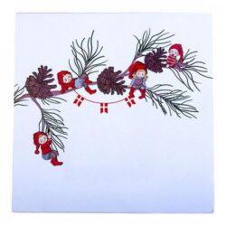 juleservietter frokost størrelse grå med print af apotekernisser på gren med kogler og flagranke