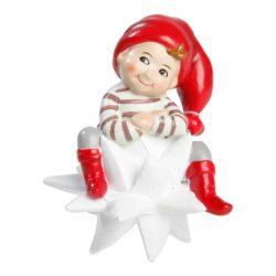 Pixie Figur Apotheken Pixie Anton auf weiß geflochtenem Stern