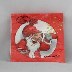 juleservietter frokost størrelse røde med glad julemand