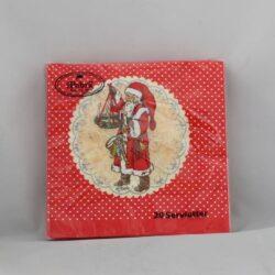 juleservietter frokost størrelse røde med nostalgisk og gammeldags julemand