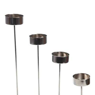 lysholdere med spyd i sølv metal til fyrfadslys 4 styk