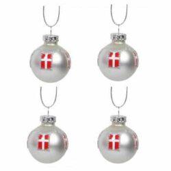 små julekugler i sølv med det danske flag