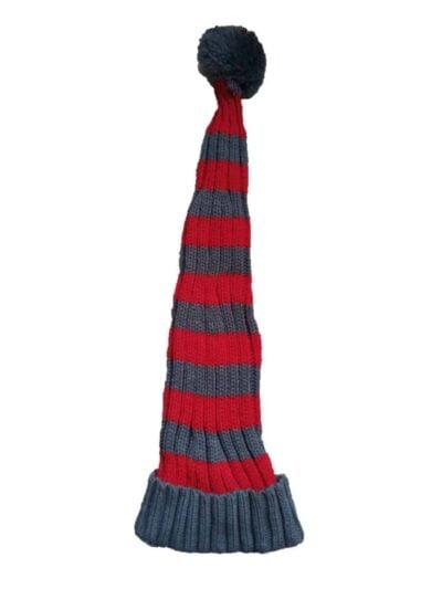 stribet grov strikket nissehue som lunte fra nissebanden