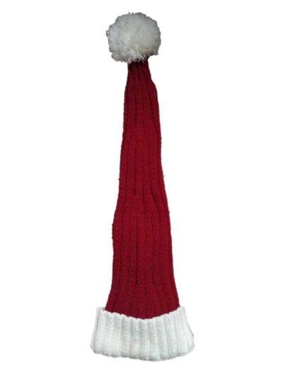 ribstrikket nissehue i rød og hvid fra nissebanden