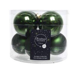 Julekugler glas GRØN blank og mat  Ø 7 cm, 8 stk til juletræ og julepynt