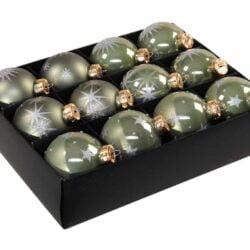 12 styk granit grønne glas julekugler ø 75 mm med dekoration