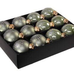 12 styk grønne glas julekugler ø 75 mm med dekoration