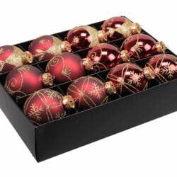 12 styk mørkerøde glas julekugler ø 75 mm med dekoration