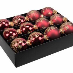 12 styk mørk røde okseblods farvede glas julekugler ø 75 mm med dekoration